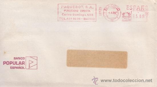 FRANQUEO MECANICO 12729 MADRID, COLABORADORA, BANCO POPULAR ESPAÑOL, (Sellos - Historia Postal - Sello Español - Sobres Circulados)