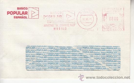 FRANQUEO MECANICO 12690 MADRID, BANCO POPULAR ESPAÑOL, (Sellos - Historia Postal - Sello Español - Sobres Circulados)
