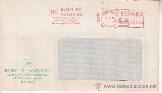 FRANQUEO MECANICO 12659 MADRID, BANCO DE SANTANDER, NUEVOS BANCOS FILIALES EN CHILE Y URUGUAY, NUEV (Sellos - Historia Postal - Sello Español - Sobres Circulados)