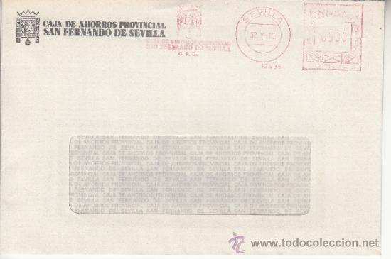 FRANQUEO MECANICO 12498 SEVILLA, CAJA DE AHORROS PROVINCIAL SAN FERNANDO DE SEVILLA, C.P.D. (Sellos - Historia Postal - Sello Español - Sobres Circulados)