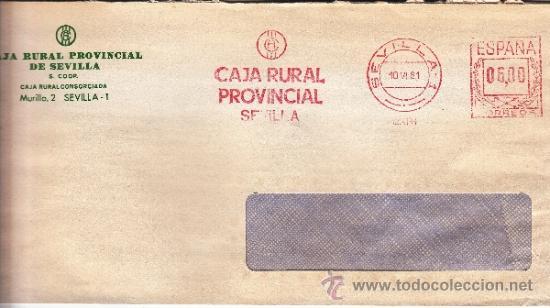 FRANQUEO MECANICO 12466 SEVILLA, CAJA RURAL PROVINCIAL SEVILLA (Sellos - Historia Postal - Sello Español - Sobres Circulados)