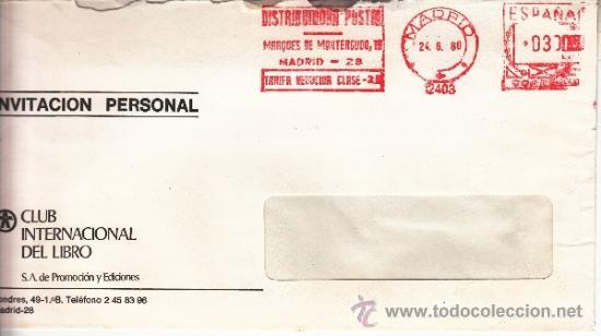 FRANQUEO MECANICO 12403 MADRID, COLABORADORA, CLUB INTERNACIONAL DEL LIBRO S.A. PROMOCION Y EDICION (Sellos - Historia Postal - Sello Español - Sobres Circulados)