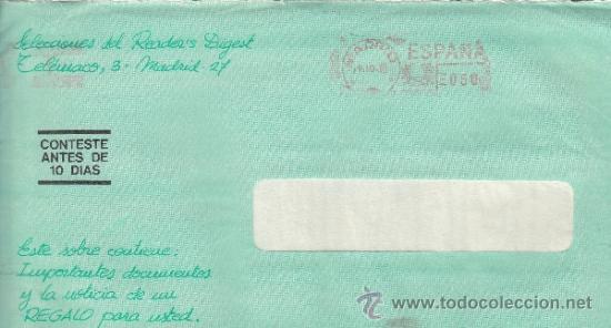 FRANQUEO MECANICO 12361 MADRID, COLABORADORA, SELECCIONES DEL READER'S DIGEST, (Sellos - Historia Postal - Sello Español - Sobres Circulados)