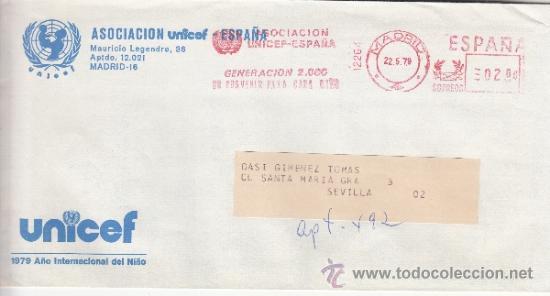 FRANQUEO MECANICO 12264 MADRID, ASOCIACION UNICEF ESPAÑA, GENERACION 2000 UN PORVENIR PARA CADA NIÑO (Sellos - Historia Postal - Sello Español - Sobres Circulados)