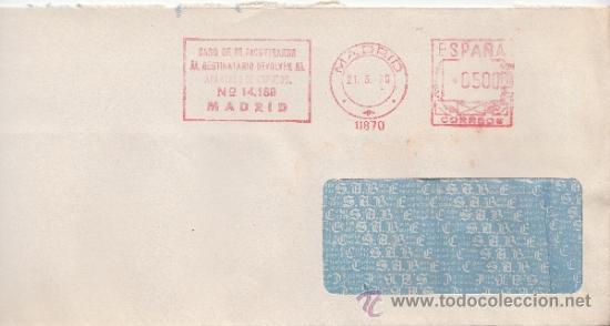 FRANQUEO MECANICO 11870 MADRID, BANCO ESPAÑOL DE CREDITO, CASO DE NO ENCONTRAR AL DESTINATARIO DEVOL (Sellos - Historia Postal - Sello Español - Sobres Circulados)