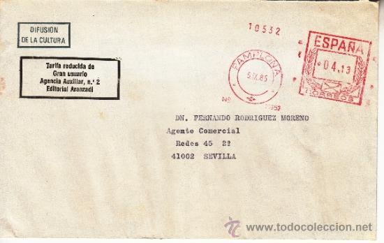 FRANQUEO MECANICO 11853 PAMPLONA, COLABORADORA, E.A. (Sellos - Historia Postal - Sello Español - Sobres Circulados)