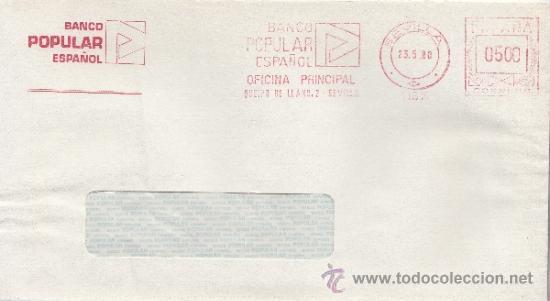 FRANQUEO MECANICO 11815 SEVILLA, BANCO POPULAR ESPAÑOL, OFICINA PRINCIPAL, (Sellos - Historia Postal - Sello Español - Sobres Circulados)