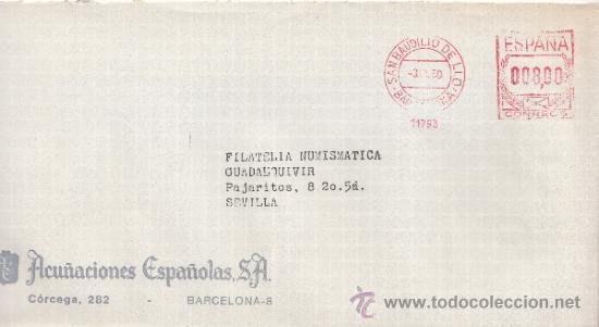 FRANQUEO MECANICO 11763 SAN BAUDILIO DE LLOGREGAT (BARCELONA), COLABORADORA, ACUÑACIONES ESPAÑOLAS S (Sellos - Historia Postal - Sello Español - Sobres Circulados)
