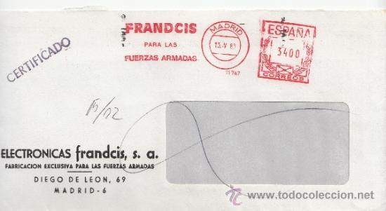 FRANQUEO MECANICO 11747 MADRID, FRANDCIS PARA LAS FUERZAS ARMADAS, ELECTRONICAS, (Sellos - Historia Postal - Sello Español - Sobres Circulados)