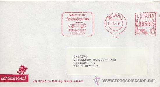 FRANQUEO MECANICO 11738 BILBAO, SERVICIO DE AMBULANCIAS PERMANENTES Y GRATUITO, ANESVAD (Sellos - Historia Postal - Sello Español - Sobres Circulados)