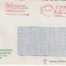 Sellos: FRANQUEO MECANICO 9180 MODIFICADO MADRID, BANCO DE SANTANDER INTERNACIONAL NUEVO BANCO EN MIAMI, . Lote 37970189