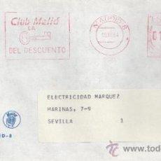 Sellos: FRANQUEO MECANICO 8880 MADRID, CLUB MELIA LA -LLAVE- DEL DESCUENTO, . Lote 37978506