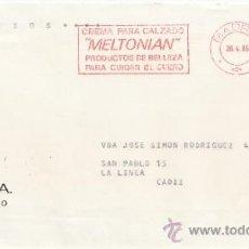 Sellos: FRANQUEO MECANICO 17852 MADRID, CREMA PARA CALZADO -MELTONIAN- PRODUCTOS DE BELLEZA PARA CUIDAR EL C. Lote 38011438
