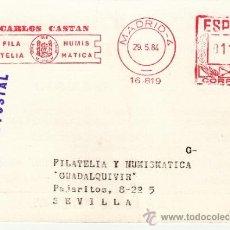 Sellos: FRANQUEO MECANICO 16819 MODIFICADO MADRID, CARLOS CASTAN, FILATELIA, NUMISMATICA, . Lote 38026608