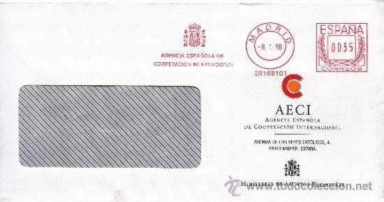 FRANQUEO MECANICO ,28168101 MADRID, AGENCIA ESPAÑOLA DE COOPERACION INTERNACIONAL (Sellos - Historia Postal - Sello Español - Sobres Circulados)