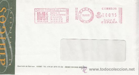 FRANQUEO MECANICO ,28046032 MODIFICADO EURO MADRID, COLABORADORA, AMIGOS DE PARADORES, (Sellos - Historia Postal - Sello Español - Sobres Circulados)