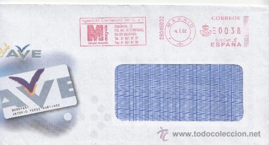 FRANQUEO MECANICO ,28046032 EURO MADRID, COLABORADORA, CLUB AVE, (Sellos - Historia Postal - Sello Español - Sobres Circulados)
