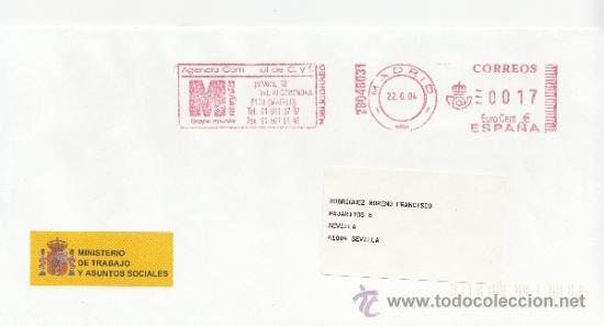 FRANQUEO MECANICO ,28046031 MODIFICADO EURO MADRID, COLABORADORA, MINISTERIO TRABAJO Y ASUNTOS SOCIA (Sellos - Historia Postal - Sello Español - Sobres Circulados)