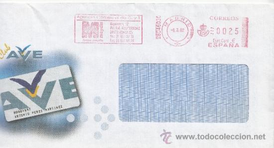 FRANQUEO MECANICO ,28046030 EURO MADRID, COLABORADORA, CLUB AVE, (Sellos - Historia Postal - Sello Español - Sobres Circulados)