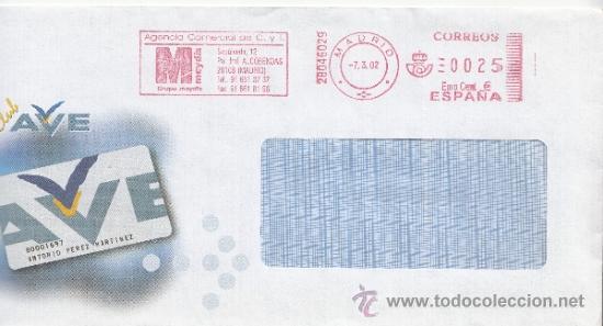 FRANQUEO MECANICO ,28046029 EURO MADRID, COLABORADORA, CLUB AVE, (Sellos - Historia Postal - Sello Español - Sobres Circulados)