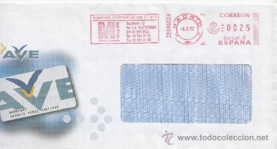 FRANQUEO MECANICO ,28046024 MODIFICADO EURO MADRID, COLABORADORA, CLUB AVE, (Sellos - Historia Postal - Sello Español - Sobres Circulados)