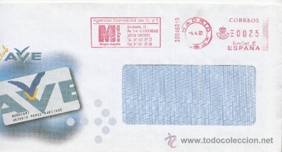 FRANQUEO MECANICO ,28046019 EURO MADRID, COLABORADORA, CLUB AVE, (Sellos - Historia Postal - Sello Español - Sobres Circulados)