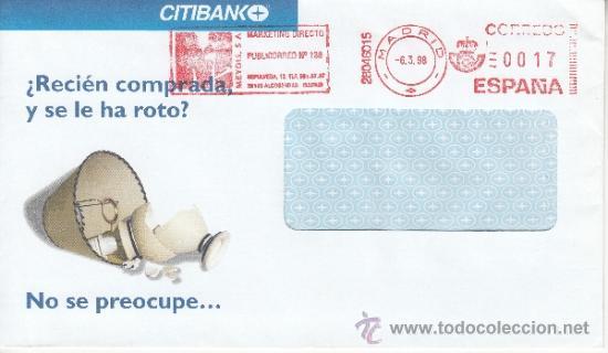 FRANQUEO MECANICO ,28046015 MADRID, COLABORADORA, CITIBANK, (Sellos - Historia Postal - Sello Español - Sobres Circulados)
