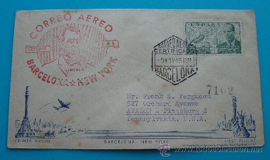 CORREO AEREO SOBRE PRIMER VUELO, BARCELONA NEW YORK, AÑO 1948, FIRST FLIGHT, LLEGADA PITTSSBURGH (Sellos - Historia Postal - Sello Español - Sobres Circulados)
