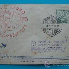 Sellos: CORREO AEREO SOBRE PRIMER VUELO, BARCELONA NEW YORK, AÑO 1948, FIRST FLIGHT, LLEGADA PITTSSBURGH. Lote 38180071