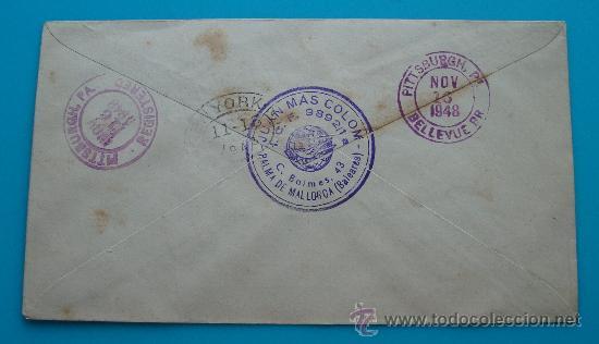 Sellos: CORREO AEREO SOBRE PRIMER VUELO, BARCELONA NEW YORK, AÑO 1948, FIRST FLIGHT, LLEGADA PITTSSBURGH - Foto 2 - 38180071
