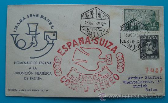 CORREO AEREO SOBRE PRIMER VUELO ESPAÑA SUIZA, IMABA 21 - AGOSTO 1948, SALIDA MADRID, LLEGADA ZURICH (Sellos - Historia Postal - Sello Español - Sobres Circulados)