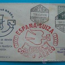 Sellos: CORREO AEREO SOBRE PRIMER VUELO ESPAÑA SUIZA, IMABA 21 - AGOSTO 1948, SALIDA MADRID, LLEGADA ZURICH. Lote 38181351