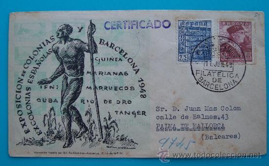 SOBRE CERTIFICADO, EXPOSICION DE COLONIAS Y EXCOLONIAS ESPAÑOLAS, BARCELONA 1948 (Sellos - Historia Postal - Sello Español - Sobres Circulados)