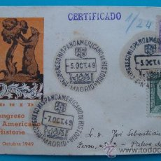 Sellos: SOBRE CERTIFICADO, I CONGRESO HISPANO AMERICANO DE HISTORIA, 1 AL 7 OCTUBRE 1949, MADRID. Lote 38184601