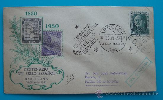 SOBRE CENTENARIO SELLO ESPAÑOL, BARCELONA 10 AL 15 DE AGOSTO 1950, MATASELLO DE MADRID Y BARCELELON (Sellos - Historia Postal - Sello Español - Sobres Circulados)