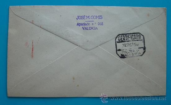 Sellos: SOBRE CERTIFICADO X FERIA OFICIAL DE MUESTRAS ZARAGOZA, DEL 8 AL 29 DEOCTUBRE 1950 - Foto 2 - 38187267