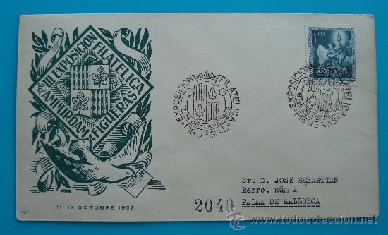 SOBRE CERTIFICADO III EXPOSICION FILATELICA FIGUERAS DEL AMPURDAM 11 - 14 OCTUBRE 1952 (Sellos - Historia Postal - Sello Español - Sobres Circulados)