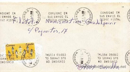 ETIQUETA ATMS S/Nº C.2. 3 LEGANES (MADRID) MATº RODILLO DOBLE (Sellos - Historia Postal - Sello Español - Sobres Circulados)