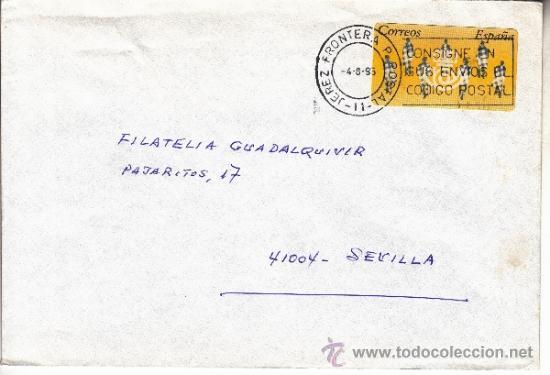 ETIQUETA ATMS S/Nº C.2. 3 JEREZ FRONTERA P POSTAL (11) CADIZ MATº RODILLO (Sellos - Historia Postal - Sello Español - Sobres Circulados)
