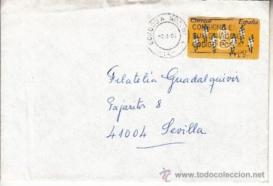 ETIQUETA ATMS S/Nº C.2. 3 CORDOBA (14) MATº RODILLO (Sellos - Historia Postal - Sello Español - Sobres Circulados)