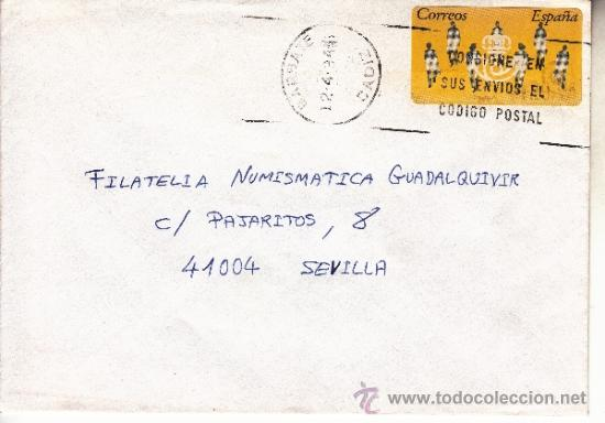 ETIQUETA ATMS S/Nº C.2. 3 BARBATE (CADIZ) MATº RODILLO (Sellos - Historia Postal - Sello Español - Sobres Circulados)