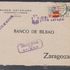 Sellos: .480B FRONTAL OVIEDO A ZARAGOZA, FRANQUEO Y LOCAL G 86 MATº ANVERSO POSTERIOR A LA PROHIBICION +. Lote 38422804