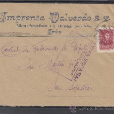 Sellos: .326A SOBRE IRUN (GUIPUZCOA) A SAN SEBASTIAN, FRANQUEO Y CENSURA I-10-5 EN VIOLETA (CON VIVA ESPAÑA+. Lote 38435588