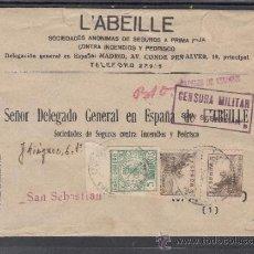 Sellos: .236D SOBRE SAN VICENTE DE ALCANTARA (BADAJOZ) A SAN SEBASTIAN, FRANQUEO E.E. Y LOCAL MATº, +. Lote 38581336