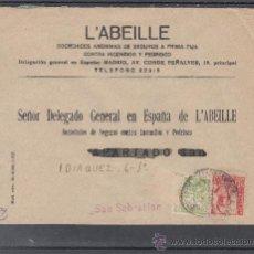 Sellos: .236C SOBRE SAN VICENTE DE ALCANTARA (BADAJOZ) A SAN SEBASTIAN, FRANQUEO E.E. Y LOCAL MATº, +. Lote 38581361