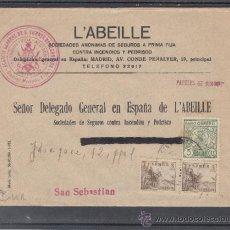 Sellos: .236A SOBRE SAN VICENTE DE ALCANTARA (BADAJOZ) A SAN SEBASTIAN, FRANQUEO E.E. Y LOCAL MATº, +. Lote 38581379