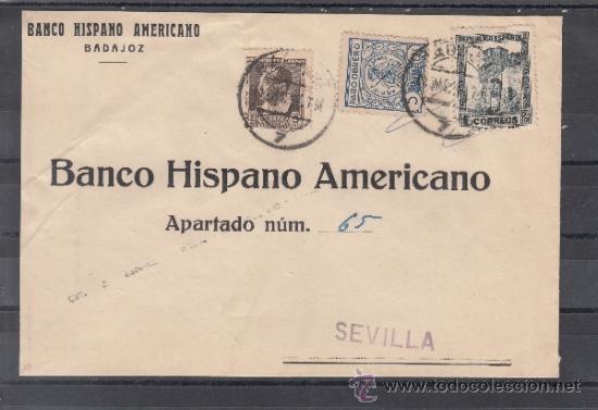 .192B SOBRE BADAJOZ A SEVILLA, FRANQUEO REPUBLICA Y LOCAL G108A MATº FECHADOR (Sellos - Historia Postal - Sello Español - Sobres Circulados)