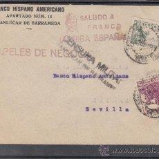Sellos: .601H SOBRE SANLUCAR (CADIZ) A SEVILLA, FRANQUEO EE. Y LOCAL 164 MATº, CENSURA S 34-1 EN NEGRO (+. Lote 38696772