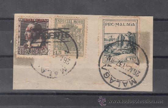 .603A FRAGMENTO MALAGA, FRANQUEO PATRIOTICO MALAGA 9 Y MOVIL G 267 SOBRECARGADO MANUSCRITO URGENTE + (Sellos - Historia Postal - Sello Español - Sobres Circulados)