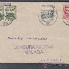 Sellos - .603b frontal malaga a sevilla, franqueo patriotico malaga 18, local 424 y como urgente pareja del + - 38719495